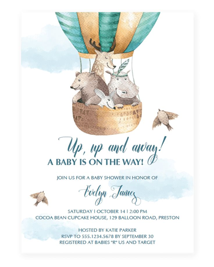 Up Up and Away Baby Shower Invitation Template Download by LittleSizzle