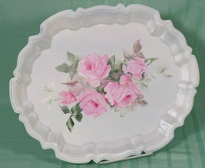 Vintage Shabby Cottage Hand Painted HP Roses Silver Plate Footed Tray