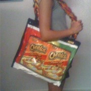 Shoulder bag I made for my niece out of old Chester Cheeto Chip Bags.