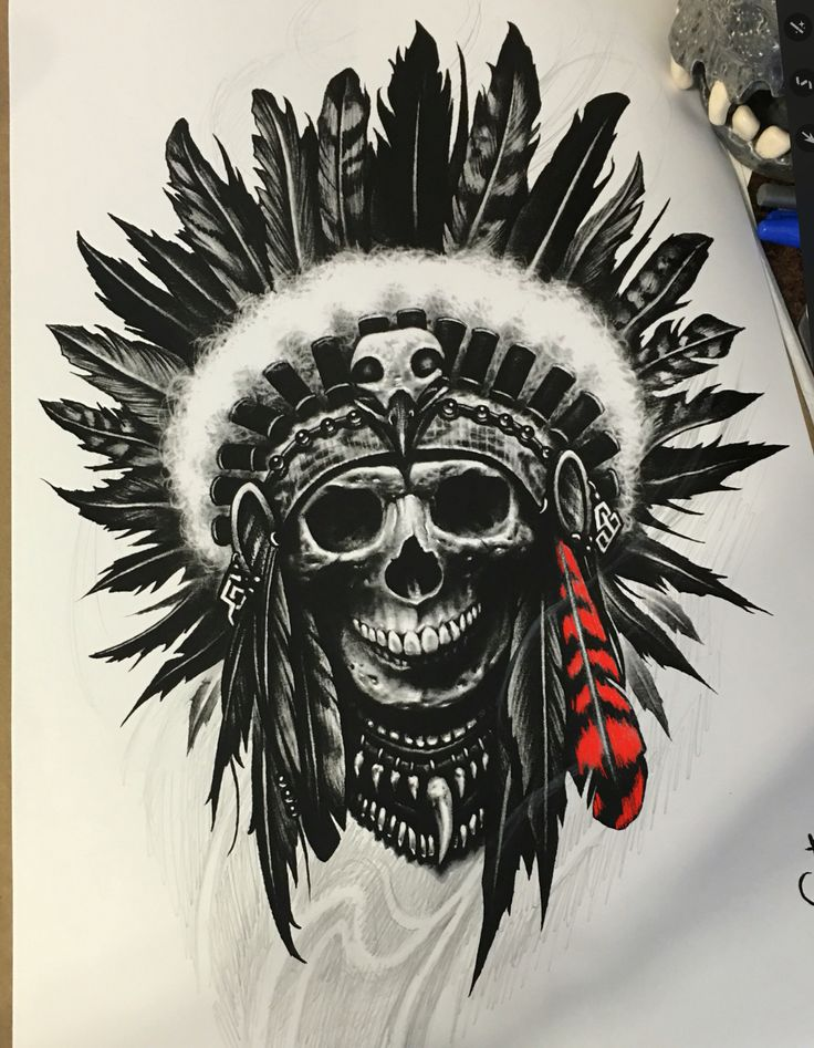 The original drawing of my tattoo. #realistictattoo #inksav #nativeamerican #tattoo #support_good_tattooers #blackandgreytattoo #toptattooartist #bng #thebestbngtattooartists #inkedmag #inked  #tattoo_art_worldwide  #nctattoers #tattoorealistic  #tattoolifemagazine #skinart  #inkig #ink_ig #skulltattoo #skull