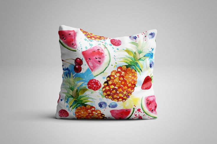Tropical Fruit Cushion. 12 x 12 inch Cushion by NJsBoutiqueCo on Etsy