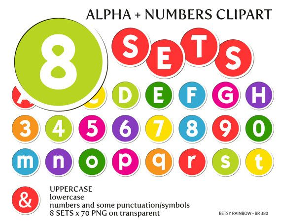 Bright digital letters and numbers clipart PNG, sticker ABC, alphabet clip art, number clipart, Instant download, BR 380