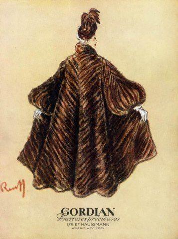 Gordian (Furs) 1947  Fur Coat #vintageillustration #fashionillustration