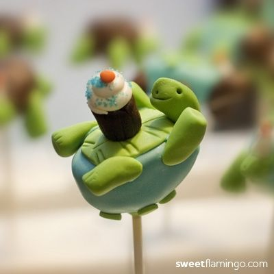 turtle party cake pops