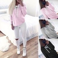 Wish | WantLH Autumn Winter Women Bandage Fleeve Hoodies Lady's Casual Sweatshirt Hoody Woman Sport Pullovers Shirts