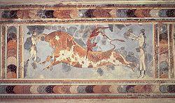 Taurocatapsia; 1700-1400 a.C., età neopalaziale; affresco su stucco; Palazzo di Cnosso, muro lato est; Museo Archeologico di Heraklion.