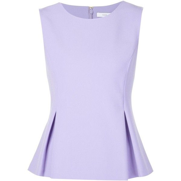 Diane Von Furstenberg 'Mallorie' pleated top (€340) ❤ liked on Polyvore featuring tops, shirts, tank tops, peplum tops, pleated shirt, pleated tank top, purple shirt, purple peplum shirt and diane von furstenberg shirt