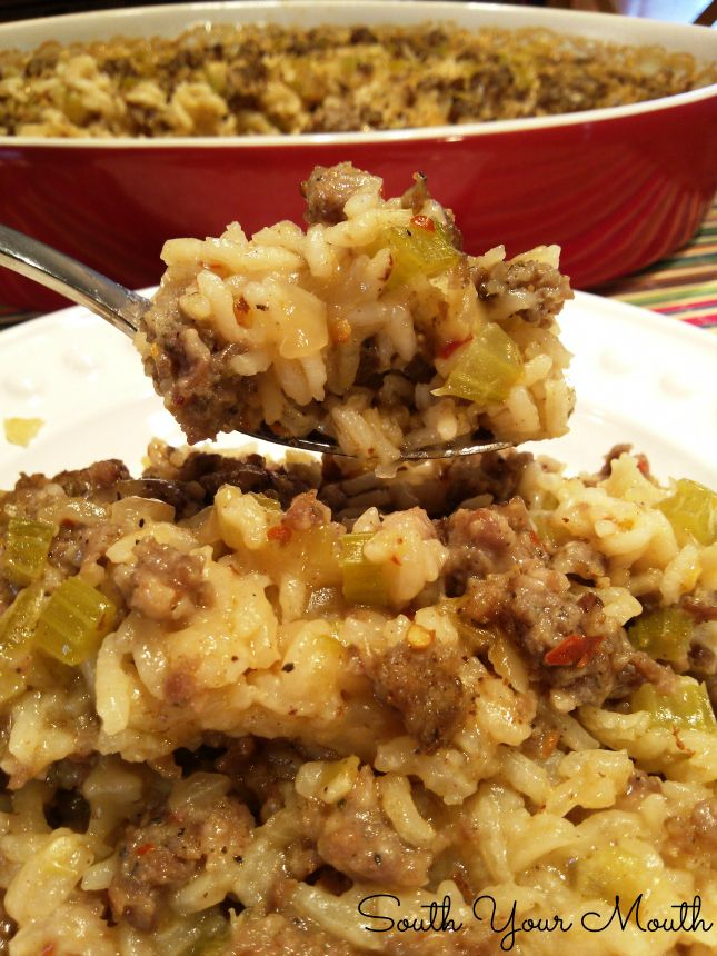 Sausage & Rice Casserole....I would add some slivered almonds to this for some extra crunch!