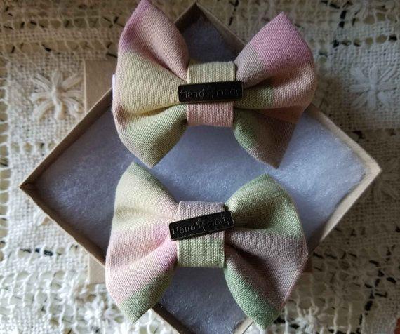Handmade Pastel Hair Bow Set of 2 Vintage Hair Bows for Girls