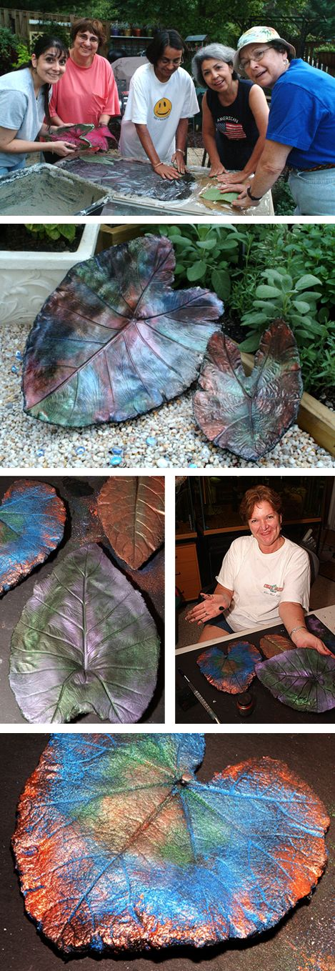 There are many sites that show how to make Concrete Leaf Castings. This one has step by step instructions with photos. Paint the front and back with black acrylic paint, then rub on powdered metallic powdered pigments.