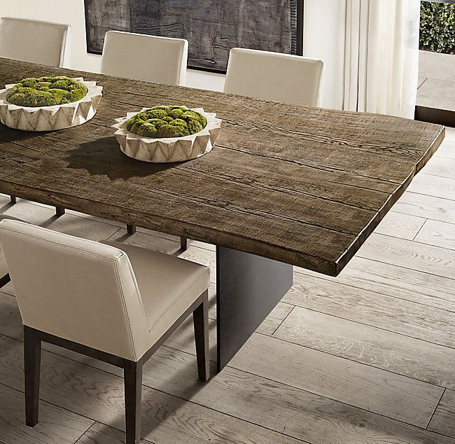 Reclaimed Russian Oak Live Edge Rectangular Dining Table Live