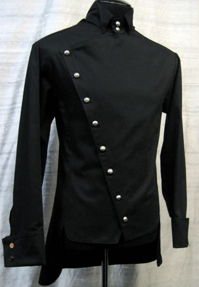 EMPIRE SHIRT - BLACK GABARDINE by Shrine Clothing Goth Steampunk Mens Jackets