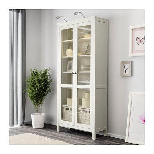 HEMNES Glass-door cabinet, white stain white stain 35 3/8x77 1/2