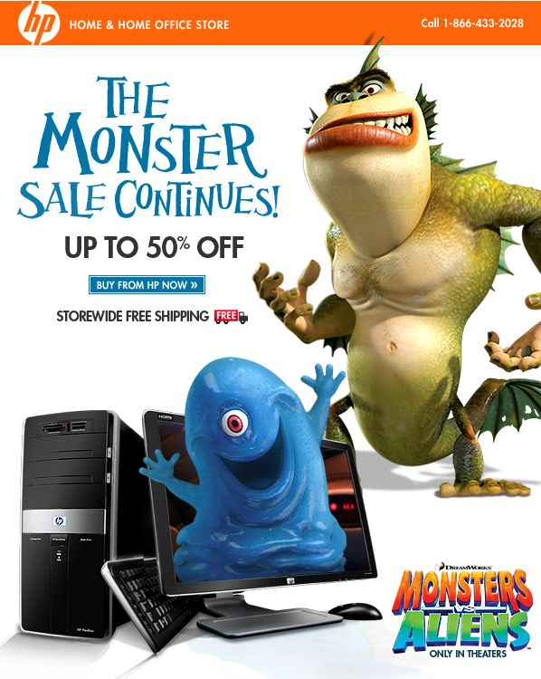Creative Email Design - HP and Monsters vs. Aliens