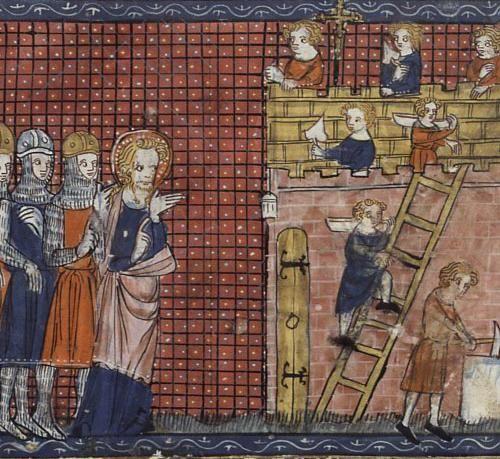 Saint Valentine of Terni and his disciples. Codex: Français 185, Fol. 210. Vies de saints, France, Paris, 14th century. Feast February 14th.