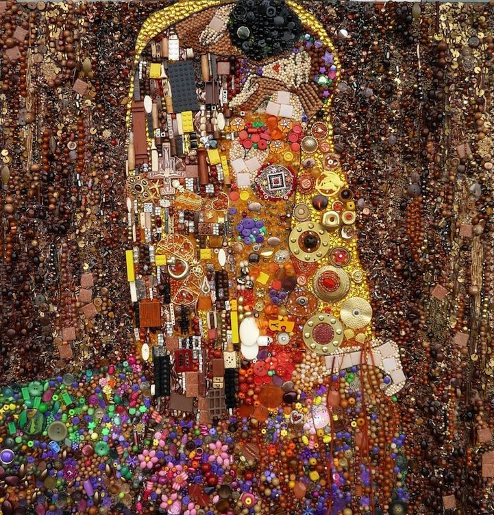recyclage d objets trouves art peinture   Des peintures célèbres par du recyclage dobjets trouvés   Sculpture recyclage puzzle portrait plas...