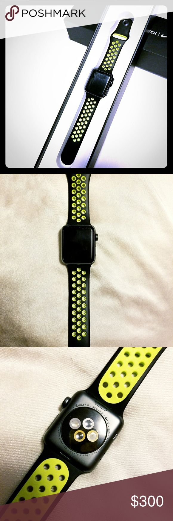 ⌚APPLE WATCH⌚ SERIES 2 NIKE PLUS EDITION! ⌚APPLE WATCH⌚SERIES 2 NIKE PLUS EDITION! GREAT PRE OWNED CONDITION. VERY SMALL SCRATCHES ON THE TOP EDGE. CAN NOT SEE WHEN WATCH IS ON, SHOWN IN PICTURES! ALL OROGINAL ACCESSORIES, OWNERS MANUAL, AND BOX INCLUDED! WORKS LIKE NEW,  FULLY FUNCTIONAL! Nike Accessories Watches