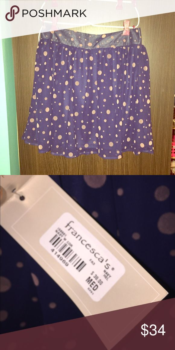 Francesca's blue skirt with pink polka dots This skirt has never been worn and still has tags attached. It is in amazing condition! This cute skirt is perfect for any occasion! It zippers up in the back. Wear it this summer and look fabulous!! Francesca's Collections Skirts Midi