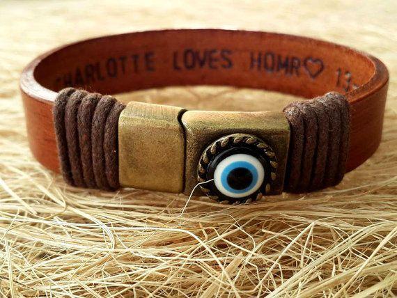 Valentines giftPersonalized Leather Men Bracelet by tovvanda