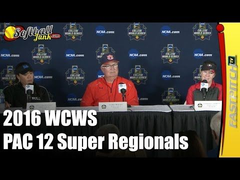Produced By http://Fastpitch.TV - 2016 WCWS Press Conference Session 2 PAC 12 Super Regionals  Sponsored By http://SoftballJunk.com  See all of our blogs and videos at http://Fastpitch.TV