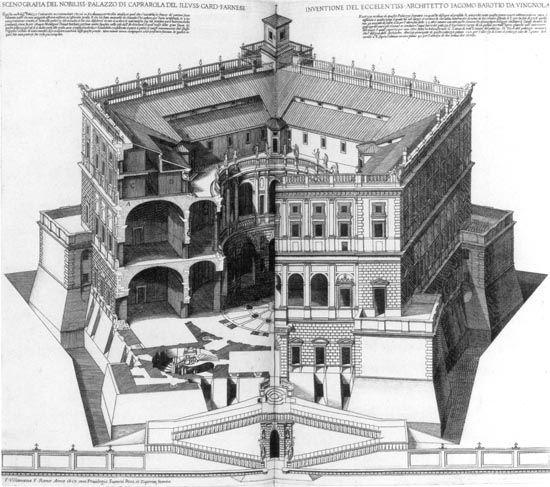 Francesco Villamena, Scenographic drawing of the noble palace of Caprarola..., 1617