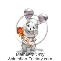 Easter Bunny Petting Chicken Animated Clipart