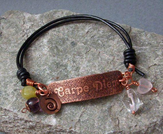 CARPE DIEM Hand Etched Copper & Leather Bracelet by studiovdesigns