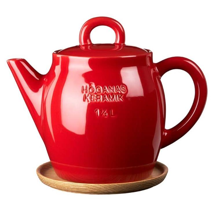 Höganäs Teapot with Wooden Saucer, Red Glazed, Höganäs