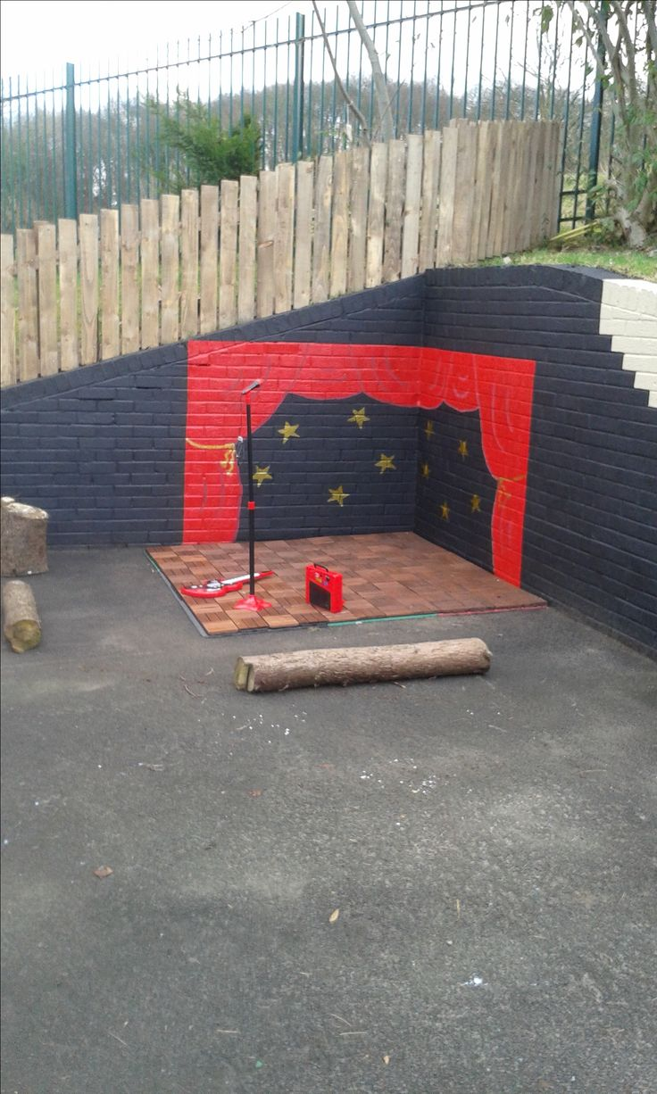 Dramatic play area outside, in closed by two walls. Change the paint every once and a while creating a new scene for the children. Bring Dramatic play outside!