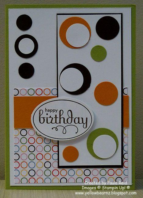Yellowbear Stampin: Masculine Card   circles Use Polka dot background paper