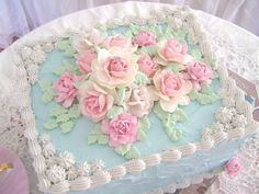 Iced Blue with Roses