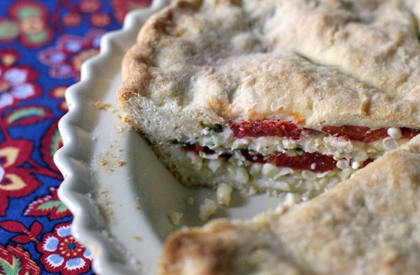 Tomato Corn Pie with a homemade biscuit crust via wonderland kitchen ...