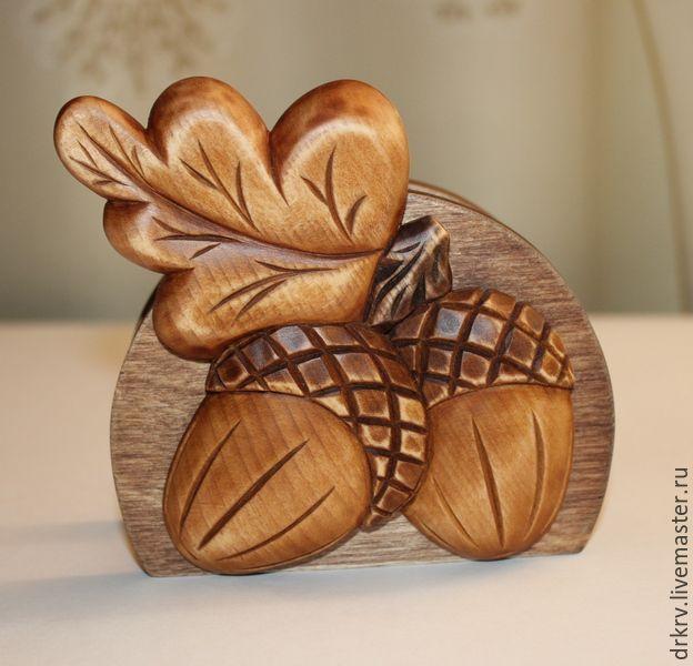 """Купить Салфетница """"Желуди"""" - комбинированный, салфетница, резьба по дереву…"""