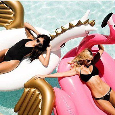 """Riesigen aufblasbaren Pegasus Pool schwimmen 108 """" - 275cm Schwimmen Ride-on Hot Party Toys - Außenpool Große Floatie Lounge für Erwachsene & Kinder - Cool Fun Blow Up Floater -Spielzeug(Cool Pics Beach)"""
