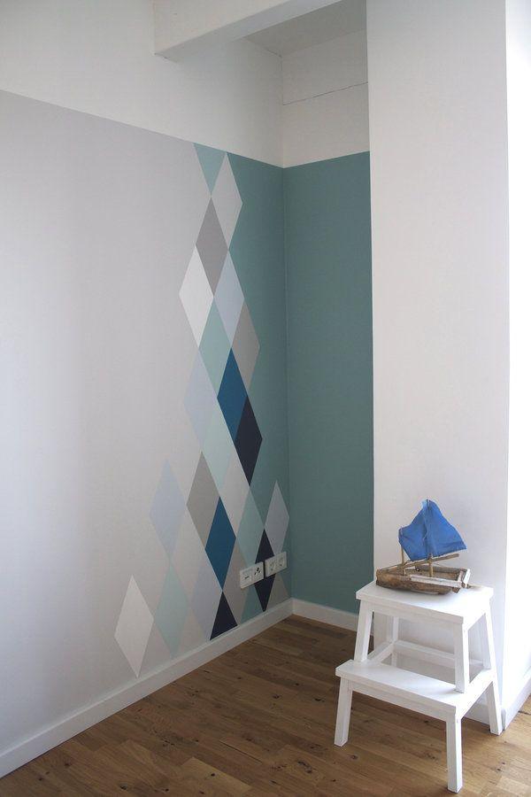Wandgestaltung mit Rauten