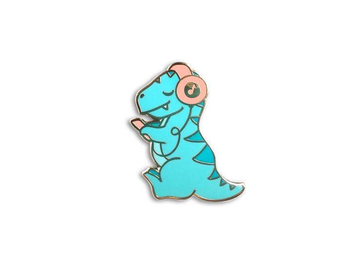 "Are dinosaurs your jam? Grab one of these rockin' cuties! THE NITTY GRITTY ✎ One 1-inch (25mm) hard enamel pin, made from my original illustration ✎ Shiny silver metal ✎ One rubber pin back ✎ ""OH PLES"