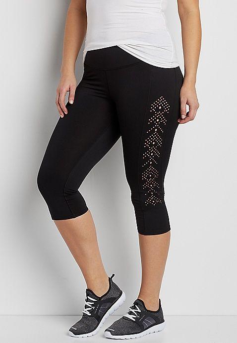 plus size capri legging with laser cut sides | maurices