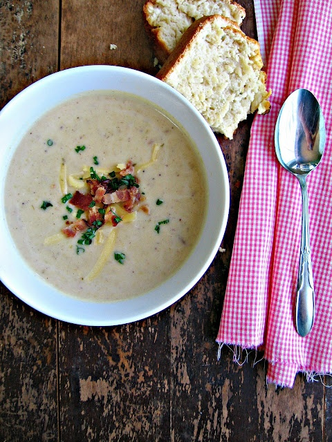Bacon, Potato & Leek Soup with Rosemary Beer Quick Bread