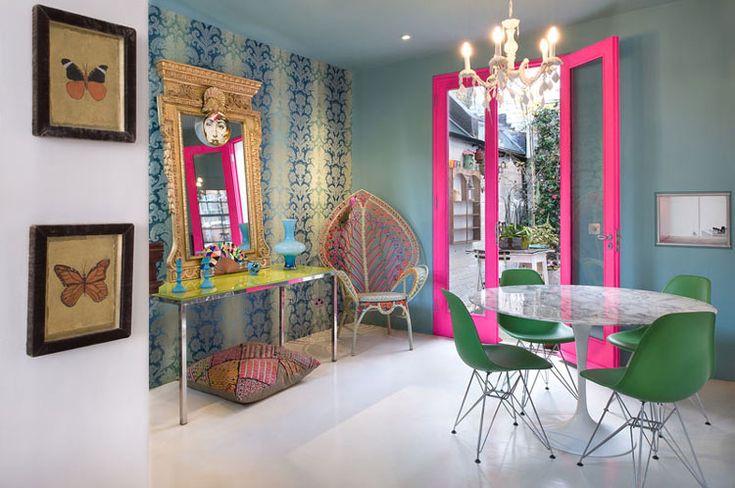 Image Via: Desire to Inspire: Dining Room, Elle Decor, Andrew Meredith, Design Interiors, Architecture Interiors, Doors Frames, Vintage Home Decor, Pink Doors, Matthewwilliamson
