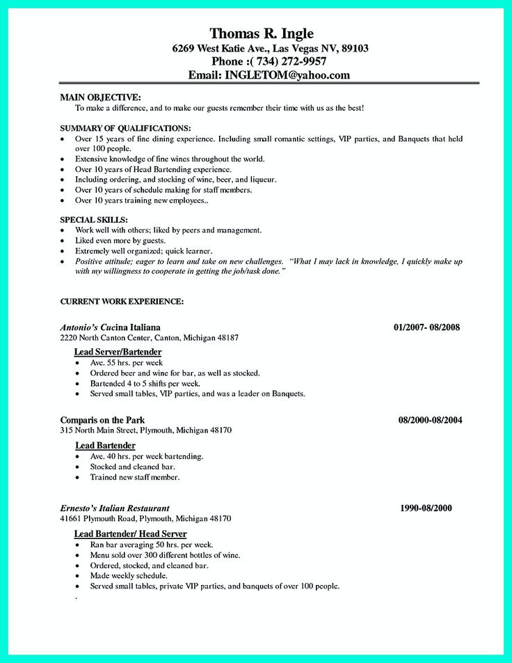 192 best resume template images on Pinterest Architects, Career - bartending resume skills