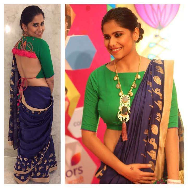 Actress Sai Tamhankar wearing Kala Sangan,Nakhrewaali, Masaya Jewellery and Whatthefuss