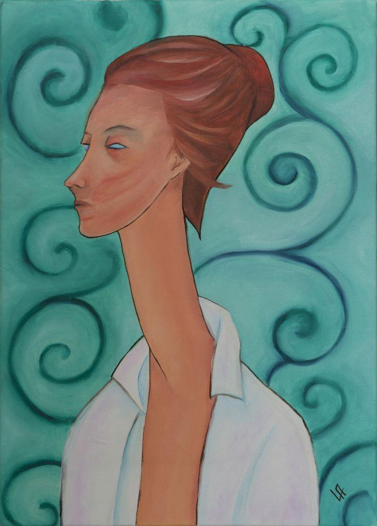 Ritratto di Lunia Czechowska (Reinterpretazione opera di Modigliani) _ olio su tela _ 2015