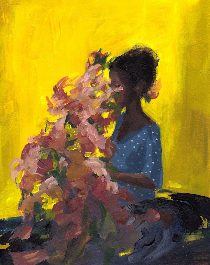 Based in California, artist Clare Elsaesser has always been creative. She attended art high school and college, but has only worked as a full-time artist for the past two years. Her paintings are a stunning collection of female figures and silhouettes, either turned away from the viewer or hiding their faces behind their hair or within bunches of flowers. These many beautiful moments of quiet and reflective solitude are created with acrylics on watercolor paper or oil paints on wood panels…