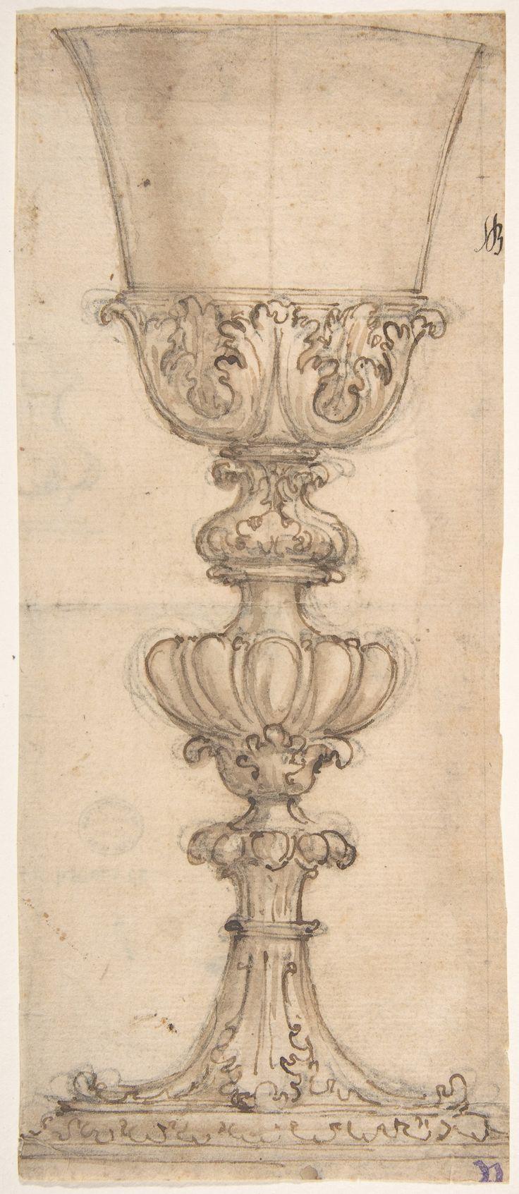 Giovanni Battista Foggini   Design for a Chalice (recto); Design for the Base of a Vase (verso)   The Met
