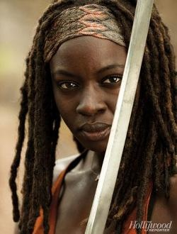 "Michonne from the TV Series ""Walking Dead."""
