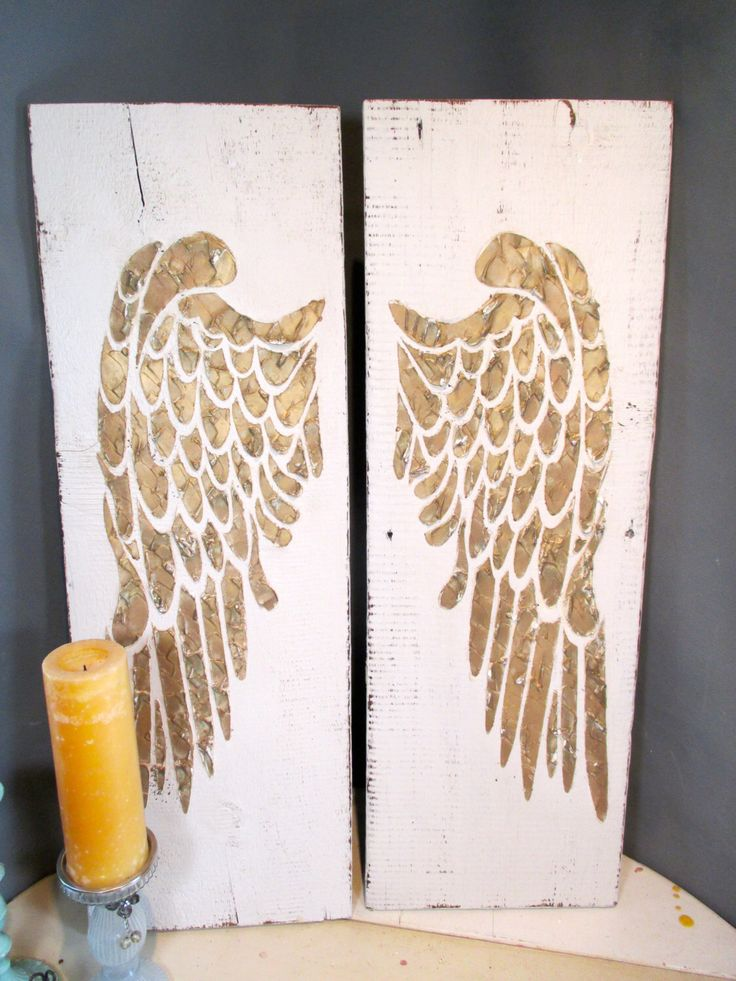 Angel Wings, Large Angel Wings, Angel Wing Wall Decor, Angel Wing Wall Art, Wood Angel Wings, Recycled Wood, Distressed Wood Sign by AuntGaylesREstore on Etsy https://www.etsy.com/listing/235165205/angel-wings-large-angel-wings-angel-wing