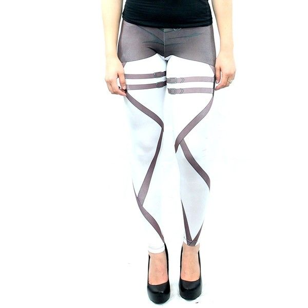 Attack on Titan Scout Leggings (X-Large) at Amazon Women's Clothing... (20 CAD) ❤ liked on Polyvore featuring pants, leggings, white leggings, white wide pants, legging pants, white legging pants and white trousers