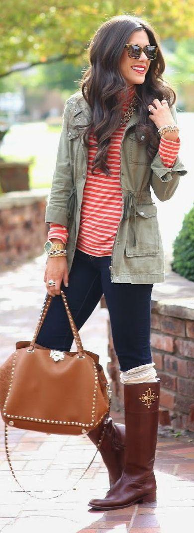 Military jacket   Denim   Boots   Handbag