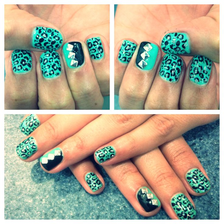 100 best nails images on pinterest nail art bebe and enamels leopard studded nails teal and black nail art prinsesfo Image collections