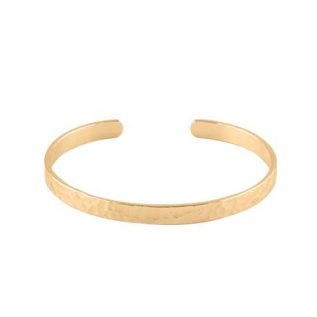 Bracelet Jonc ouvert martelé plaqué or en vente à L'Atelier d'Amaya, bijoux en argent et plaqué or pour femme, homme et enfant..